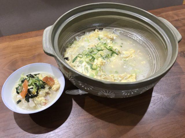 ヨシケイ夕食ネットキットde楽健康鶏と白湯鍋食後シメ雑炊食べる前