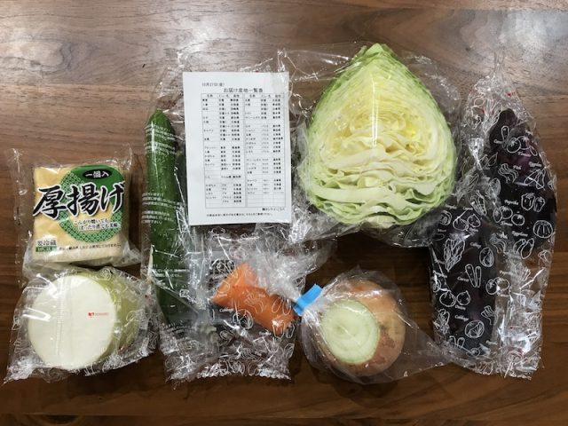 ヨシケイ夕食ネット日替わりメニュー白身魚となすのおろし煮3人前野菜と産地一覧表