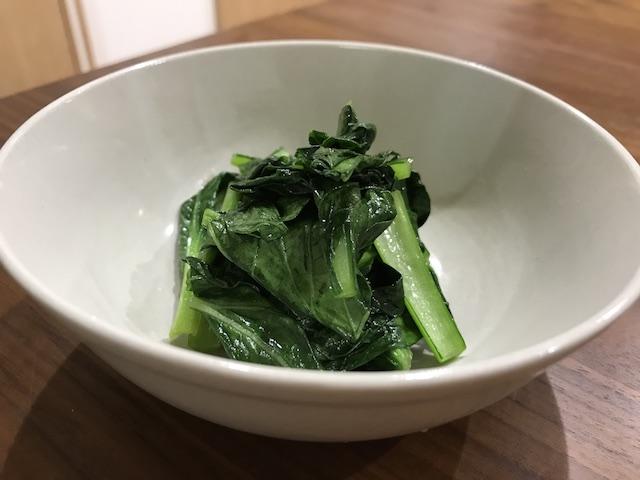 大地を守る会お試しセット野菜果物7品小松菜調理後写真